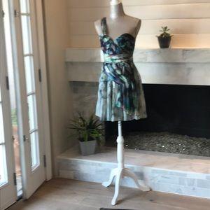 ABS Allen Schwartz One Shoulder Silk Dress 2 EUC